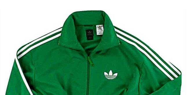 d377efafd52d6 Pánska zelená tepláková bunda Adidas   Zlavomat.sk