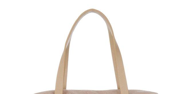 Dámska svetlo hnedá kabelka s potlačou Calvin Klein