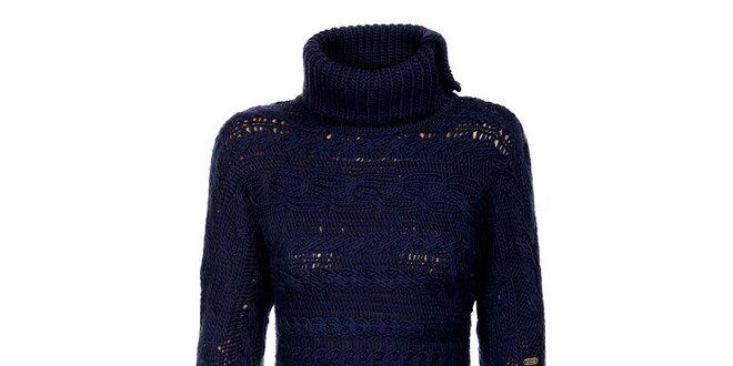 Tmavo modré svetrové šaty Tommy Hilfiger
