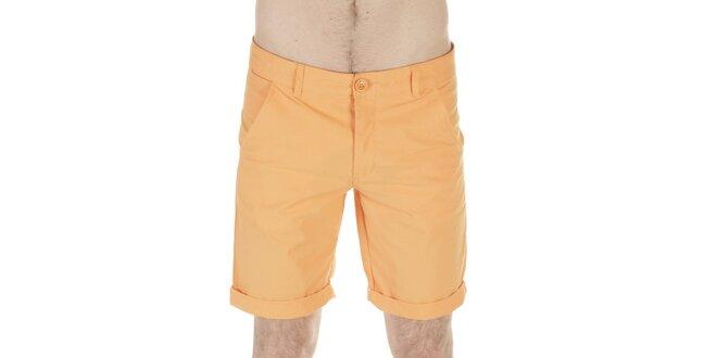 Pánske oranžové bavlnené šortky SixValves  12aeb47d00