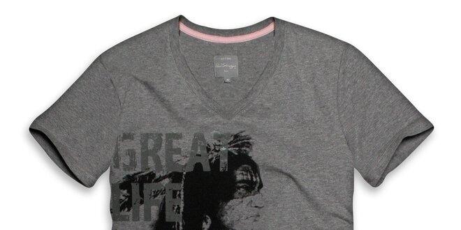 d5328a82356d Pánske tmavo šedé tričko s nápisom Paul Stragas