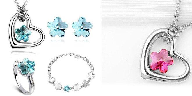 Krásna až 6 - dielna súprava šperkov zdobená kryštálmi na výber v 4 farbách