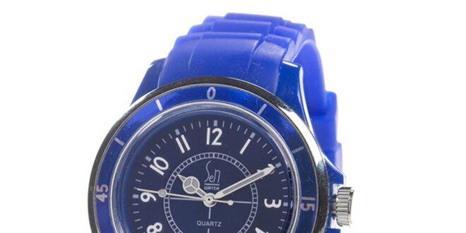 Modré analogové hodinky s luminiscenčnými ručičkami Senwatch ... f4b31c8be51