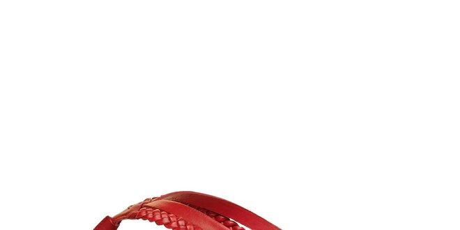 Dámske červené kožené žabky Levis