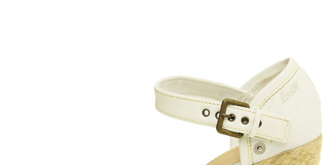Dámske biele sandále Levis na jutovej platforme