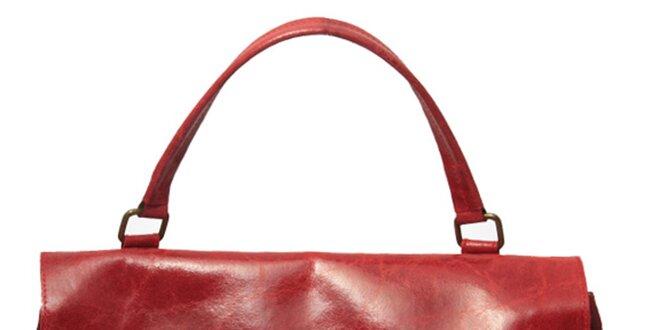 152041c92a Dámska červená kabelka so zámčekom Leonardo Farnesi