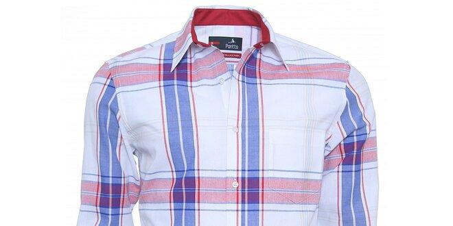 Pánska modro-červená kockovaná košeľa Pontto