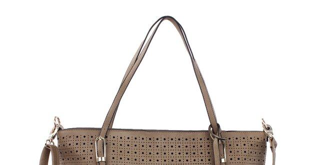 Dámska svetlo hnedá kabelka s perforáciou Bessie