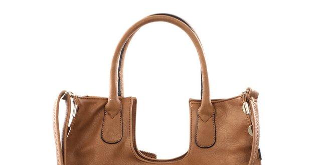 Dámska hnedá veľká kabelka s kovovými detailmi Bessie