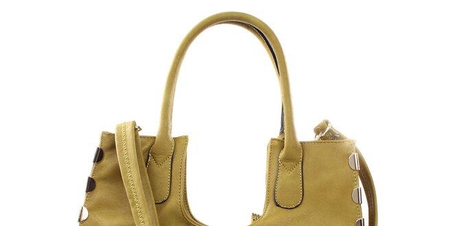 Dámska zelenkavá veľká kabelka s kovovými detailmi Bessie