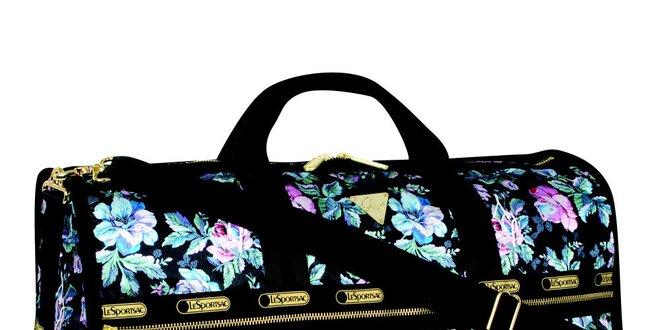 6871d70a260ac Dámska velká čierno-ružová vzorovaná cestovná taška LeSportsac ...