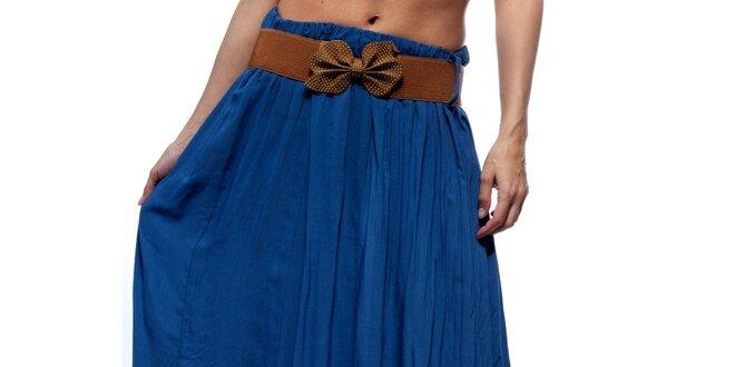 1ef08187441e Dámska modrá dlhá sukňa s hnedým opaskom Trois Quatorze