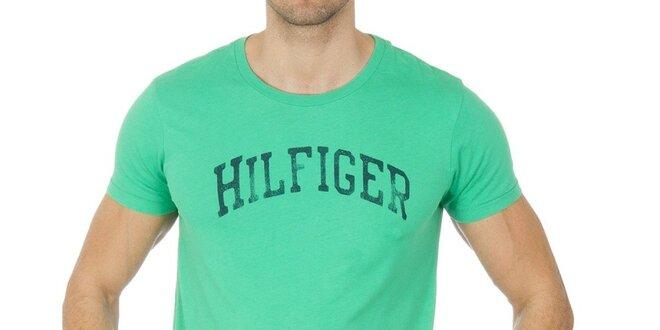 52e7b2a17ff1 Pánske zelené tričko s nápisom Tommy Hilfiger