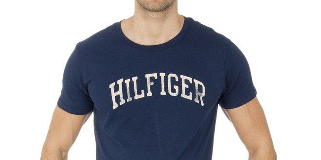 c86a9f02b2 Pánske tmavo modré tričko s nápisom Tommy Hilfiger