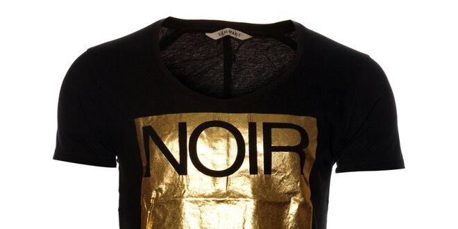 Dámske čierne tričko Eleven Paris so zlatou potlačou  c66f033b2b7