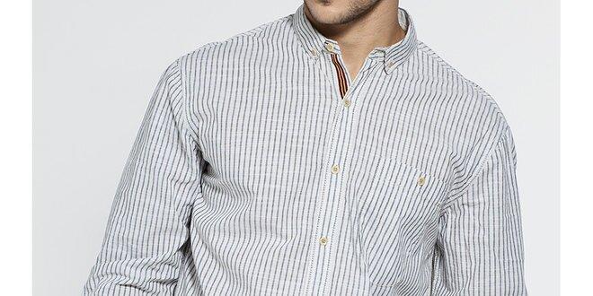 Pánska svetlo šedá prúžkovaná košeľa French Connection