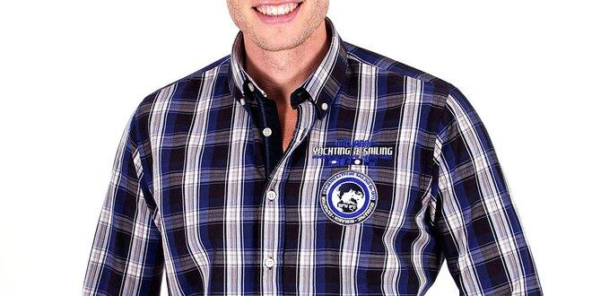 Pánska modrá košeľa s kockami Galvanni