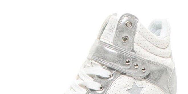 d7939e4c77 Dámske biele tenisky na kline Big Star so striebornými detailmi ...