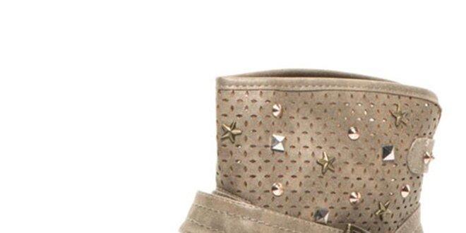 Dámske šedobéžové členkové topánky s perforáciou Big Star