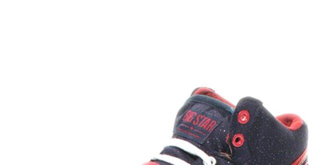 Dámske modré trblietavé tenisky s červenými detailmi Big Star