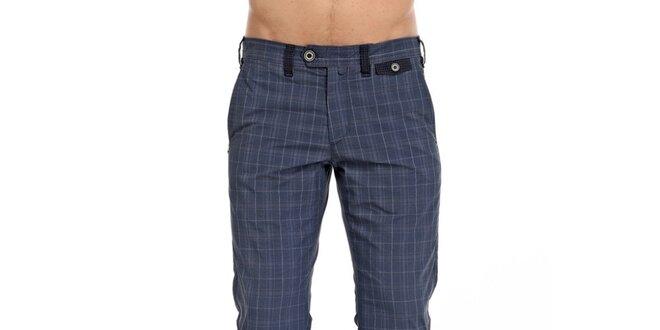 c4c07f4b78a3 Pánske modré kárované nohavice Galvanni
