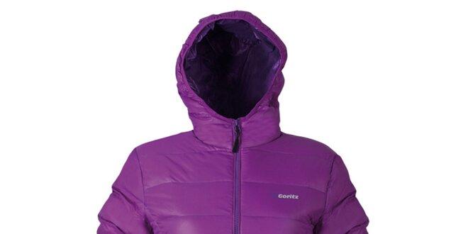 Dámska fialová prešívaná bunda s kapucňou Goritz