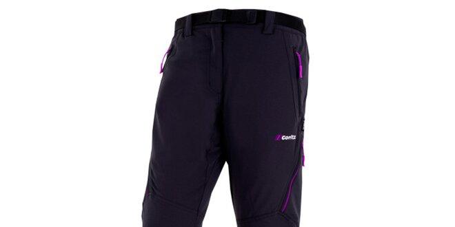 Dámske čierne nohavice s fuchsiovými zipsami Goritz