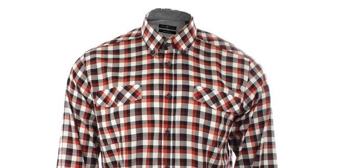 5be4d037c597 Pánska červená károvaná košeľa Pietro Filipi