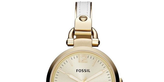 Dámske okrúhle pozlátené hodinky Fossil s bielozlatým remienkom