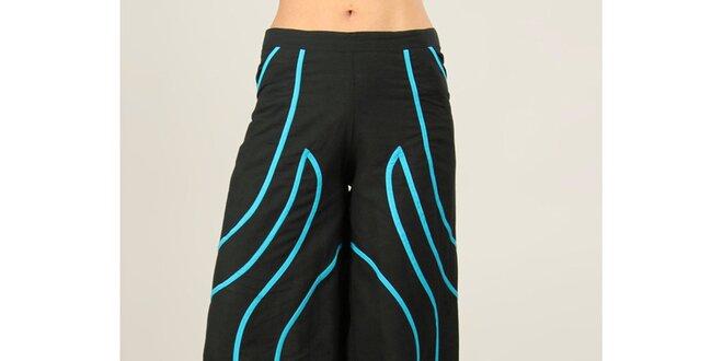 Dámske čierne nohavice s tyrkysovými prúžkami Ziva
