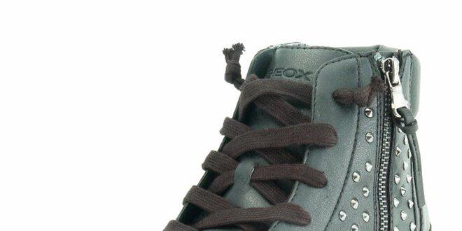 Dámske čierne členkové tenisky s cvočkami Geox  f3219564bf