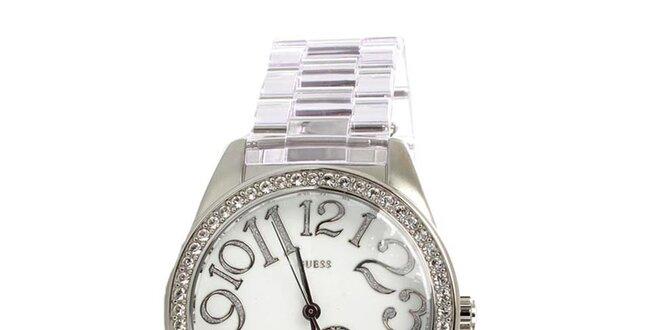 3a0850433 Dámske strieborné hodinky Guess s bielym ciferníkom | Zlavomat.sk