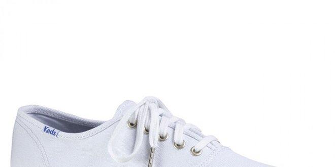 Pánske biele tenisky s bielou podrážkou Keds
