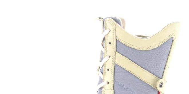 7165176686 Dámske kožené béžovo-modro-červené vysoké šnurovacie topánky s perforáciou…