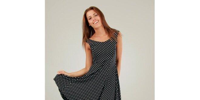 Dámske čierne šaty s bielymi bodkami a okrúhlou sukňou Ginger Ale ... 67b434f9db4