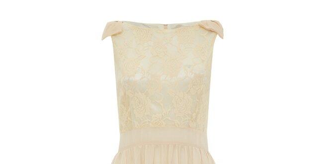 e68c1ff49368 Dámske krémové šaty s čipkou Iska