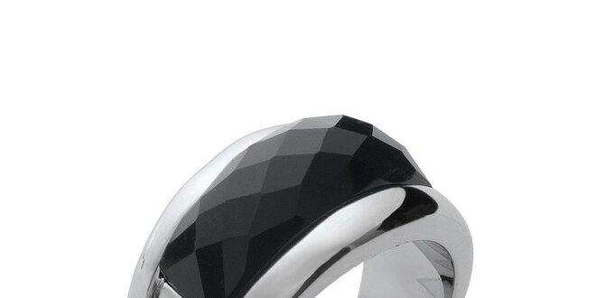 Dámsky prsteň s čiernym keramickým pásom Fifi Ange