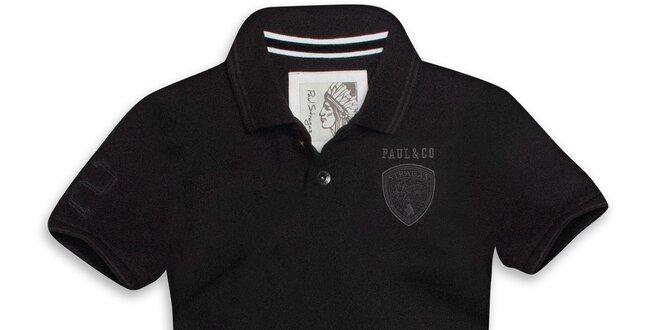 d6a9cd59eac5 Pánske čierne polo tričko s krátkym rukávom Paul Stragas