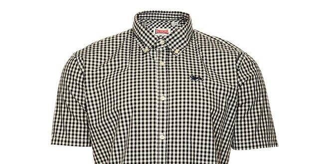 Pánska čierno-biela kockovaná košeľa s krátkym rukávom Lonsdale