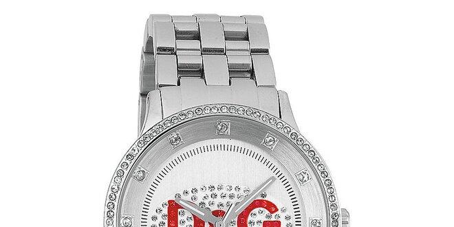 Dámske hodinky z nerezovej ocele s červeným logom Dolce & Gabbana