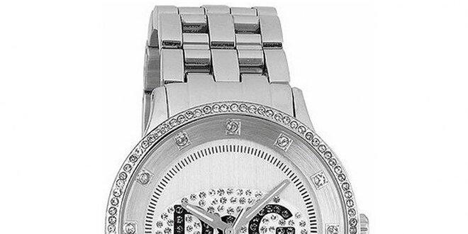 Dámske hodinky s okrúhlym púzdrom osadeným zirkónmi Dolce & Gabbana