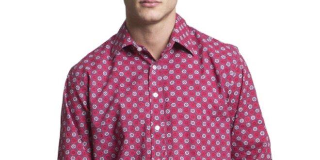 3f070de4f Pánska vínová vzorovaná košeľa s dlhým rukávom Yhoss | Zlavomat.sk