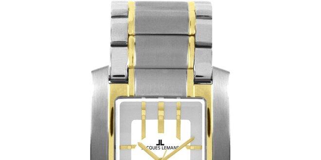 Pánske elegantné oceľové hodinky so zlatým prúžkom Jacques Lemans