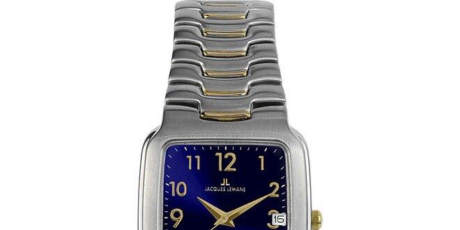 Pánske elegantné oceľové hodinky s modrým ciferníkom Jacques Lemans