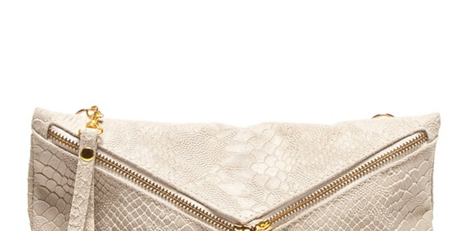 Dámska béžová haďia listová kabelka Roberta Minelli so strapcami ... 664c2fcbd4d