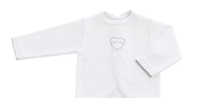 Detský biely kojenecký set s motívom srdiečka Naf Naf