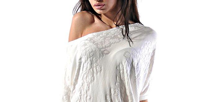 Dámske biele reliéfne minišaty Female Fashion