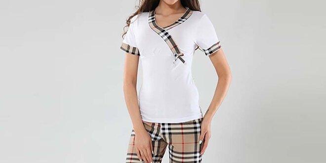 Dámske pyžamo Fagon - biele tričko a kockované nohavice