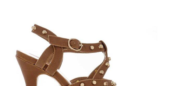 23c846fd7476 Dámske hnedé sandále so zlatými cvokmi Obelia