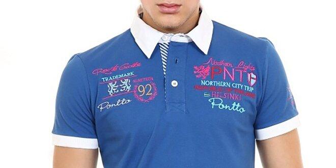 93ecc182a534 Pánske modré polo tričko s bielym golierom Pontto
